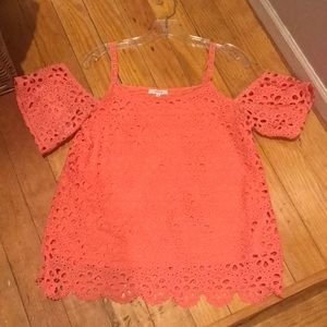 Maurice's coral off the shoulder top